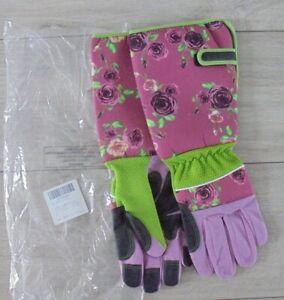 BNWT Long Gardening Gloves Thorn Proof Ladies Garden Gauntlet Long Sleeves - L