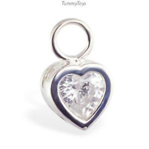 TummyToys Silver Bezel Set Navel Ring Heart Charm with 6mm CZ Centre [TT-78065]