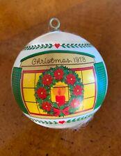 """1978 Hallmark Satin Christmas Tree Ball Ornament ~ Poinsettia Wreath """"Home."""""""