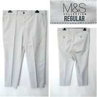 NEW MARKS AND SPENCER W38 L29.5 MEN`S GREY COTTON LIGHTWEIGHT CHINO TROUSERS #25