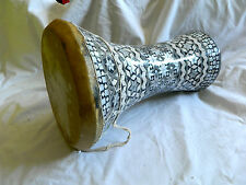 "Egyptian Mother of Pearl Wooden Drum-Tabla-Doumbeck 8.5"" Head and 17"" High WOW!!"