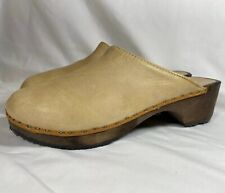 1970s Vintage Olof Daughter's Wood Clogs Brown Leather Shoes Boho Hippy 41 / 10