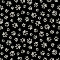 Elizabeth's Studio Adorable Pets Paws on Black 100% cotton Fabric by the yard