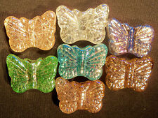 "Big Colorful Glass Crackle Magical Butterfly Pendants 5 X 38mm 1.5"" New Marbles"