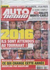 AUTO HEBDO n°2044 NEUF du 06/01/2016 : Monte-Carlo guide complet - Saison 2016