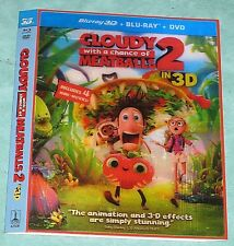 CLOUDY WITH A CHANCE OF MEATBALLS 2  3D Blu ray Lenticular Slipcover
