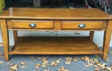 Wood coffee table, honey finish, Pottery Barn style