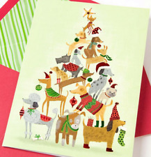"""Best Wishes for a Very Merry Christmas"" PAPYRUS CARD Dog Pyramid Tree"