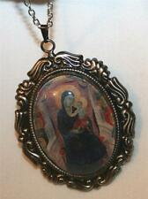 Fluted Rim Orthodox Our Lady of the Rosary of Carmel Glass Cameo Medal Necklace