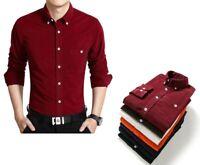 Men Long Sleeve Corduroy Dress Shirt Male Fashion Flannel Slim Fit Solid Color