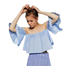 Women Blouse Shirt Ladies Flare Sleeve Strapless off Shoulder T-shirt Tops Vest One Size