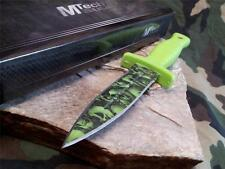 "MTech 9"" Double Edge Zombie Boot Knife Green Skull Field Belt Dagger 097GN"