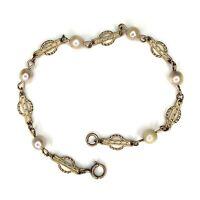"""Antique Pearl Bracelet Gold Filled Fancy Link Station Chain 8"""" Vtg Edwardian"""