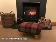 Small Footstool in 100% Wool Fabric - Choose From 27 Colours & Patterns