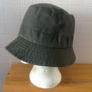 vintage Barbour A115 Wax Cotton Bucket Hat Olive Lge