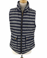 Kenar Womens Casual Striped Puffer Vest Jacket Size Large Black/ White