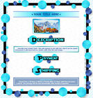 AUCTION TEMPLATE Circles Border Design Turquoise & Blue - FREE Email Shipping