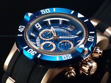 New Invicta Mens 50mm L.E JT Pro Diver Chronograph 18K Rose Gold Blue Dial Watch