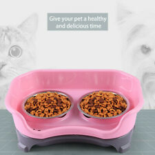 Puppy Pet Dog Cat Feeder Elevated Dish Plastic Trays With 2 Stainless Bowls Set