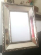 6x4 Mirrored Photo Frame Picture Frame Beaded Silver Glass NEW