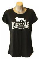 LONSDALE LONDON: Size 8 Simple Black T-Shirt W White Printed Lion Logo. VGUC!