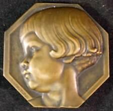 Turin Bronze Medal Little Girl Teddy Bear Rocker Mrs. Beeson American Red Cross