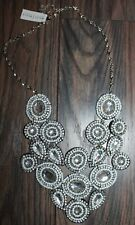 White House Black Market Silver Flower Chainmail Statement Necklace