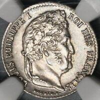 1842-W NGC AU 58 France 1/4 Franc Rare 91k Louis Philippe POP 1/1 Coin 20081502C