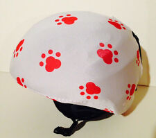Ski & Sport Helmet cover by Shellskin. Red Paws print Spandex.1 Size