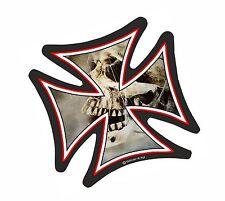 IRON CROSS & Gotico Teschio Con Motivo Ragnatela casco da motociclista vinile Car Adesivo 95mm