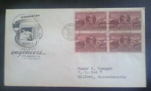 First day of issue, 1950 Honoring Railroad Engineers of America, blk 4, # 993