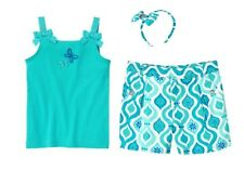 Gymboree Aqua Summer Outfit Size 5 New Blue Butterfly Top Shorts Headband Twins