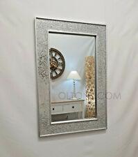 Silver Plain Frame Mosaic Crackle Design Glass Wall Mirror 90X60cm Handmade