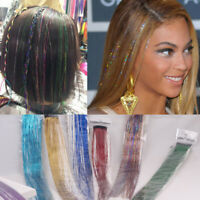 1Set Holographic Rainbow Glitter Hair Tinsel Extensions Clubbing DIY Hair Style