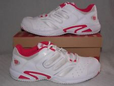 New in box Ladies Size 6 WILSON JR TOUR CONSTRUKT White/Silver/Pink Tennis Shoe