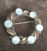 Vintage Brooch Celtic Scottish Pin blue Stones silvertone leaves vtg