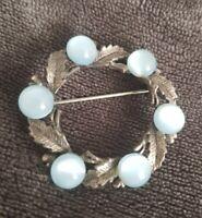 Vintage Brooch Celtic Scottish Pin blue polished Stones Silvertone leaves Leaf