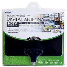 Digital 15dB Amplified Flat Indoor TV Antenna HDTV DTV UHF VHF FM Black & White