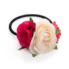 Rose foncé & crème tone double cheveux fleur élastique rrp £ 2.50 - neuf + étiquettes