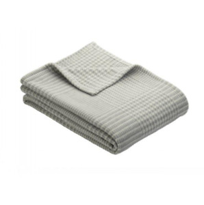 Large Grey and White Checked Throw