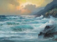 Canvas Print Oil painting Picture Ocean waves printed on canvas L058