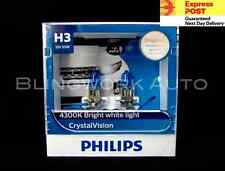(FREE T10 PARKERS) PHILIPS H3 CRYSTAL VISION 4300K 12V 55W WHITE HALOGEN BULBS