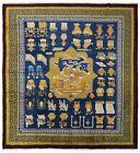 Antique Art Deco Rug Ninghshia Chinese Rug Guardian Lions Peking 8X9 Blue C.1900