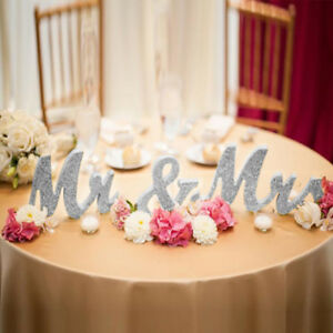 Wooden Standing Silver Mr and Mrs Letters Sign Table Wedding Decorations Rustic