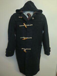 "Vintage Gloverall Wool Duffle Duffel Coat Raincoat S 36"" Euro 46 - Black"