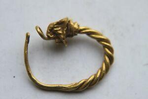 RARE ANCIENT GOLD SAXON DRAGON HEAD EAR RING 5/7th CENTURY AD