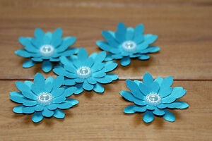 15 TURQUOISE SHIMMER 3D FLOWERS WEDDING STATIONERY, TABLE CONFETTI, TOPPERS,