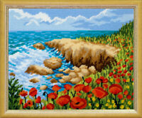 DIY Embroidery Kit Poppies Seaside Yarn Tapestry Needlepoint kit Wall Art
