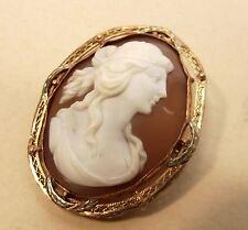 Antique 10K Gold Carved Shell Cameo Brooch Pendant Filigree Pin Edwardian Vtg