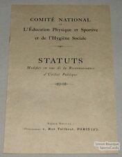 Original 1920 L'education Physique et Sportive Statuts